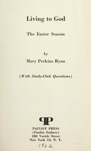 Cover of: Living to God | Mary Perkins Ryan