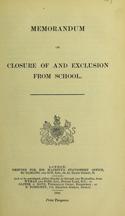 Cover of: Memorandum on closure of and exclusion from school |