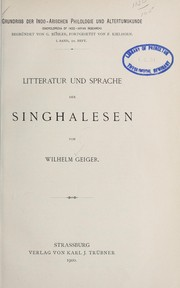 Cover of: Litteratur und Sprache der Singhalesen