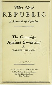Cover of: The campaign against sweating