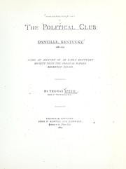 Cover of: The Political Club, Danville, Kentucky, 1786-1790. | Speed, Thos.