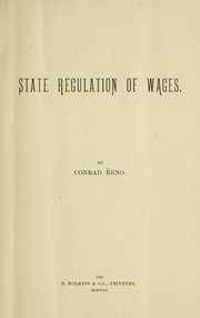 Cover of: State regulation of wages