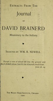 Cover of: Extracts from the Journal of David Brainerd, missionary to the Indians