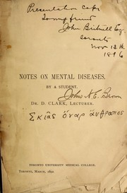 Cover of: Notes on mental diseases