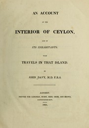 Cover of: An account of the interior of Ceylon, and of its inhabitants. With travels in that island