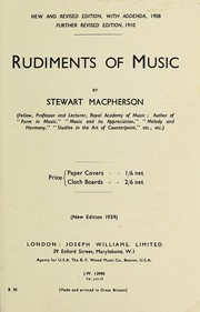Cover of: Rudiments of music | S. Macpherson