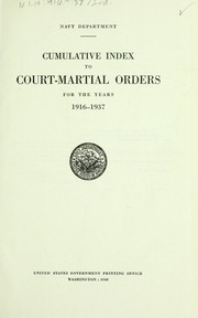 Cumulative index to Court-martial orders for the years 1916-1937.