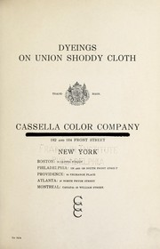 Cover of: Dyeings on union shoddy cloth