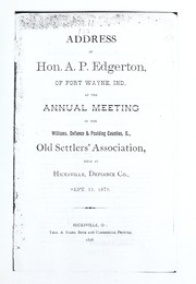Cover of: Address of Hon. A. P. Edgerton