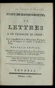 Cover of: Point de banqueroute, ou, Lettres a   un cre ancier de l'e tat