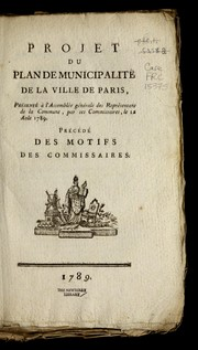 Cover of: Projet du plan de municipalite  de la ville de Paris