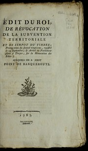 Cover of: E dit du roi, de re vocation de la subvention territoriale et de l'impot du timbre