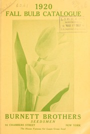 Cover of: 1920 fall bulb catalogue | Burnett Brothers