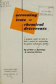 Cover of: Screening tests of chemical deterrents | A. R. Hastings