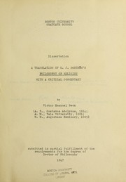 Cover of: A translation of C.J. Boströms Philosophy of religion, with a critical commentary