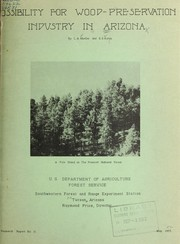 Cover of: Possibility for wood-preservation industry in Arizona