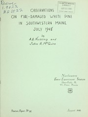 Cover of: Observations on fire-damaged white pine in southwestern Main, July 1948 | A. D. Nutting