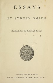 Cover of: [Essays, by Sydney Smith. Reprinted from the Edinburgh Review. 1802-1818.].