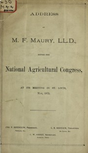 Cover of: Address before the National Agricultural Congress, at its meeting in St. Louis, May, 1872