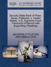 Cover of: Security State Bank Of Pharr Texas Petitioner