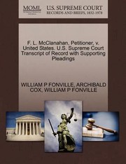 Cover of: F L Mcclanahan Petitioner