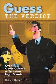 Cover of: Guess the Verdict | Helaine Hudson