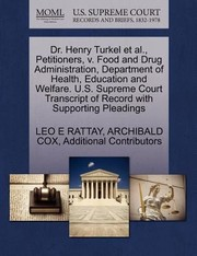 Cover of: Dr Henry Turkel Et Al Petitioners