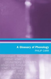 Cover of: A Glossary Of Phonology