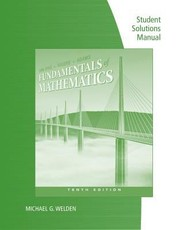 Cover of: Student Solutions Manual For Van Dyke Rogers And Adams Fundamentals Of Mathematics 10th Edition