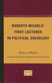Cover of: First Lectures in Political Sociology