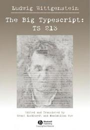 Cover of: The Big Typescript: TS 213 | Ludwig Wittgenstein