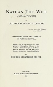 Cover of: Nathan the Wise | Gotthold Ephraim Lessing