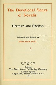 Cover of: The devotional songs of Novalis [pseud.]