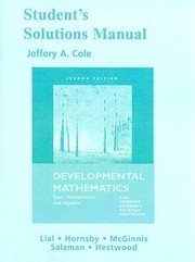 Cover of: Students Solution Manual For Developmental Mathematics 2nd Edition Basic Mathematics And Algebra