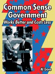 Cover of: Common Sense Government