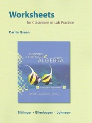 Cover of: Elementary And Intermediate Algebra Worksheets For Classroom Or Lab Practice Concepts And Applications