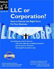 Cover of: LLC or corporation?: how to choose the right form for your business
