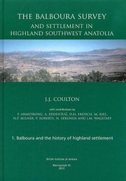 Cover of: Balboura Survey And Settlement In Highland Southwest Anatolia