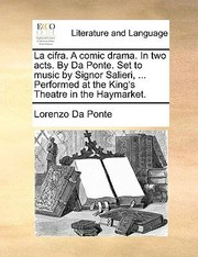 Cover of: La Cifra a Comic Drama in Two Acts by Da Ponte Set to Music by Signor Salieri  Performed at the Kings Theatre in the Haymarket