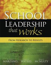 Cover of: SCHOOL LEADERSHIP THAT WORKS | Robert J. Marzano