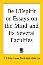 Cover of: De L'espirit or Essays on the Mind And Its Several Faculties