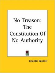 Cover of: No Treason The Constitution Of No Authority