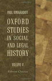 Cover of: Oxford Studies in Social and Legal History