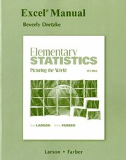 Cover of: Excel Manual For Elementary Statistics Picturing The World Fifth Edition By Ron Larson Betsy Farber