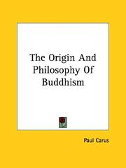 Cover of: The Origin And Philosophy Of Buddhism