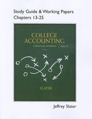 Cover of: Study Guide  Working Papers for College Accounting Chapters 13  25