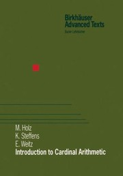 Cover of: Introduction To Cardinal Arithmetic M Holz K Steffens E Weitz