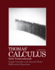 Cover of: Thomas Calculus Early Transcendentals Single Variable With Secondorder Differential Equations