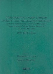 Cover of: Corporations Other Limited Liability Entities And Partnerships 20092010 Statutory Supplement To Corporations And Other Business Enterprises 20092010 Edition