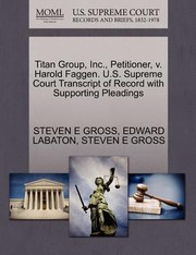 Cover of: Titan Group Inc Petitioner